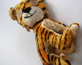 Vintage Tiger Stuffed Animal with Winking Eyes