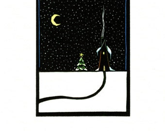 Greeting Card (6) from a Linocut By Ken Swanson (1352)