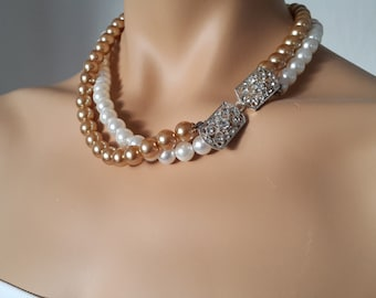 Pearl Necklace, Wedding Necklace, Bridal Jewelrywith two strands and Swarovski Palace Light.