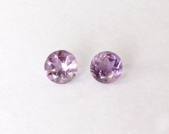 Natural Purple Amethyst, Unheated, Round Cut, Lot (2) of 6.83 carats