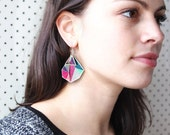 Triangle Art print earrings PINK TEAL xo Next Romance Jewels handmade in Melbourne Australia summer spring races unique gift contemporary