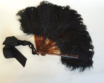 Antique French Victorian Black Ostrich Feather Fan with Tortoise Shell Guards.To be restored.