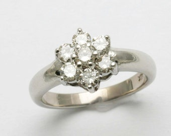 Vintage 14k white gold Diamond Flower Ring 0.80 carat engagement Estate