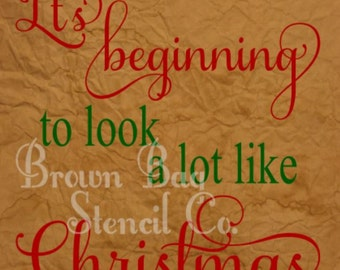 "Christmas Stencil - 12""x12"" design area - pillows - signs - walls - It's beginning to look a lot like Christmas"