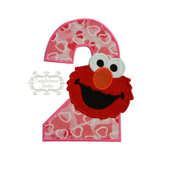Pink Number 2 Second Birthday Hearts Elmo Red Monster