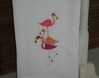 flamingo flour sack towel. Machine embroidered.