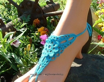 Crochet Barefoot Sandals Beach Wedding Shoes Yoga Hippie Gypsy Feet Jewelry Something Blue Bridal Lace Anklet Accessories