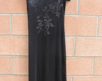 Black sheer dress with chest flower detail
