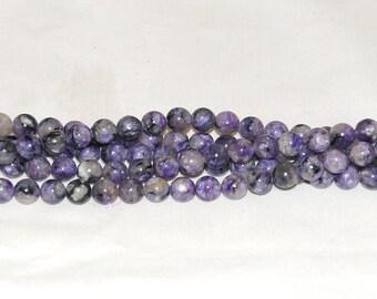 """Natural Charoite 8mm Round Gemstone Beads - 15.5"""" Strand"""
