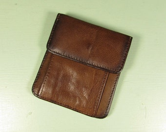 Brown Leather Coin Purse Wallet- Vintage Buxton Small Snap Closure Bi Fold