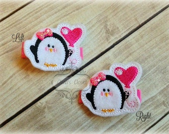 Valentines Day Hair Clip Penguin Hair Clippie Pick one or two. Pick Left side or Right.