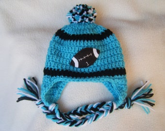 Crocheted Carolina Inspired Team Colors or (Choose your team) Football Helmet Baby Beanie/Hat - Made to Order