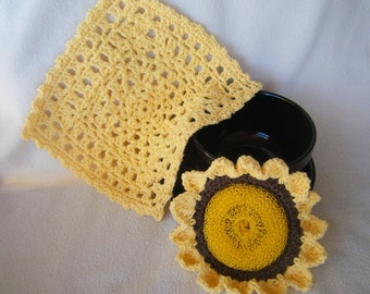 Crocheted Sunflower Scrubber and Wash Cloth