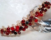 Lacy Red Beaded Bracelet, handmade wire crochet bead jewelry, romantic red bracelet
