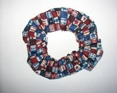 Red White Blue sparkle patriotic fabric Hair Scrunchie, womans scrunchies, USA America, July 4th fireworks, women's accessories, girls gifts