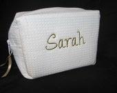 Personalized Bridal Party Makeup Bag - Bridesmaid Cosmetic Bag - Waffle Weave Spa Bag - Great Gift