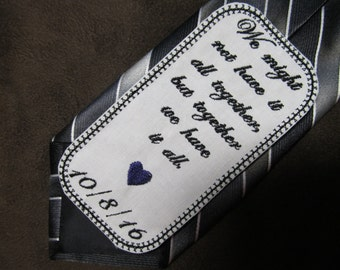 Husband of the Bride - Wedding Tie Patch - Personalized Embroidery - Shown with Black Writing and Purple Heart