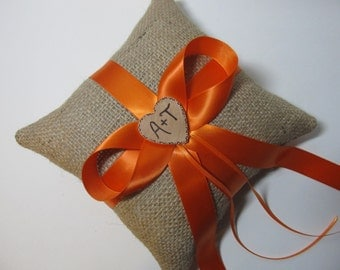 Personalized Rustic Burlap Ring Bearer Pillow Shown with Orange Satin Ribbon