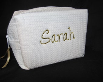 Personalized Bridal Party Makeup Bag - Bridesmaid Cosmetic Bag - Waffle Weave Spa Bag - Great Gift