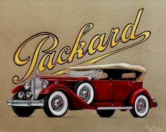 Original Pastel Drawing '38 Packard Vintage Automobile Classic Car framed 20 x 17