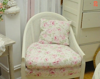 Upholstered Arm Chair Painted White Cane Distressed Shabby Chic French Cottage Country OOAK