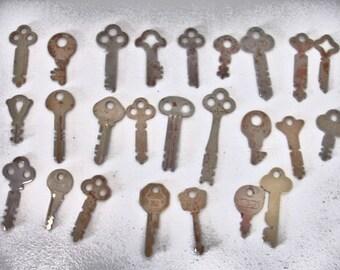 Vintage Lot of 25 Flat Keys Rustic Keys crafts altered art mix media steampunk collector keys lot no. 44