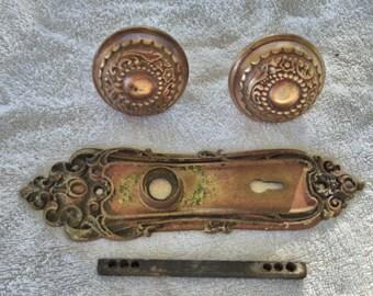 Antique Brass Door Knobs Set Lot Plate Salvage 1800's Eastlake Home Decor Vintage knobs Lot no. 5