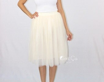 Corinne - Champagne Tulle Skirt, Soft Tulle Skirt, 4-Layers Everyday Tutu, Adult Tulle Skirt, Plus Size Midi Tulle Skirt, Wholesale
