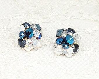 Sapphire Cluster Earrings- Blue Bridal Earrings- Navy Wedding Earrings- Art Deco Bridal Studs- Cobalt Blue Earrings- Sapphire Bridal Studs