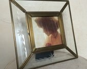 Vintage 1960s Etched Glass and Brass Frame Brass Photo Frame