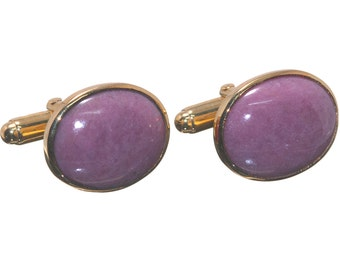 Rhodonite Cuff Links Hand Crafted Regnas Genuine Gemstone Gold Plated Sterling Silver 925