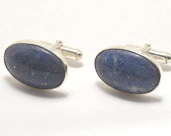 Lapis Cufflinks Medium Hand Crafted Oval Regnas Sterling Silver 925