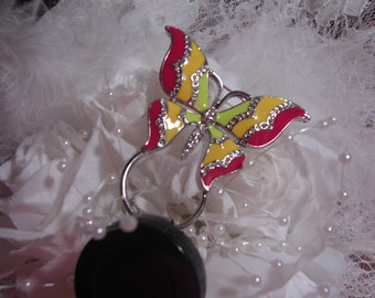 Garden Butterfly Rainbow pin brooch Badge ID Holder Reel Retractable