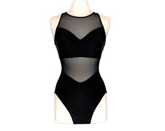 Vintage 90s Black Mesh Cutout High-Neck One-Piece Swimsuit- Size M