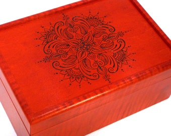 "Red Boho Handmade Jewelry Box, Keepsake Box or Wedding Card Box: Henna Mandala Pyrography 9.6"" x 6.5"" AVAILABLE NOW"