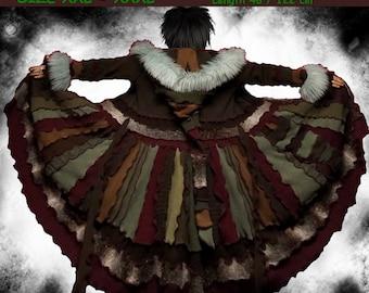 Elf coat, eLF sWEATER, size XXL, size XXXL, plus size, fairy, boho coat, women hoodie, sweater coat, patchwork , Recycled dress, dream coat