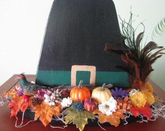Pilgrim hat, Thanksgiving, fall, centerpiece, hostess gift,  fall decor,  decoration, pumpkin, flowers, feather