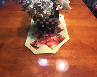 Handmade Yellow and Red with a Peach Design table runner by MarlenesAttic
