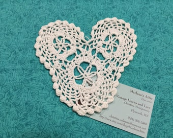 Vintage 5.5 inch White Heart Shaped Hand Crochet doily for housewares, home decor, pillows, christmas, holiday, bags by MarlenesAttic