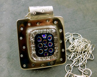 Fused Glass Pendant, Sterling Silver, Purple Dot Dichroic Glass