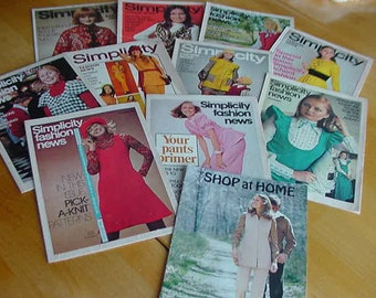 10 Vintage 1970s Simplicity Fashion News, Plus 1 McCall's Shop at Home, Pattern Booklets
