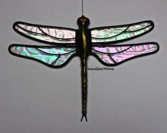 "Stained Glass DRAGONFLY Suncatcher, ""Aurora Borealis"", Clear Rainbow Iridescent Wings, USA Handmade"