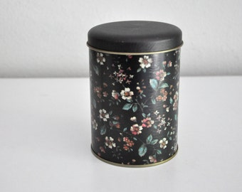 Vintage Black Floral Tea Tin Canister