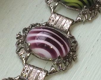 Chunky Swirl Statement Bracelet ~ Selro ~ Selini ~ Judy Lee ~ Lucite ~ Art Glass ~ Vintage