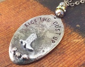 Kick the Dust Up Spoon Necklace with Cowboy Boot and Rhinestones, Soldered Jewelry, One of a Kind Necklace by Kyleemae Designs