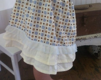 Boho Girl Skirt | Washed Cotton Polka Dot Skirt | Size 6 Layered Washed Cotton Skirt | Ellie Ann and Lucy