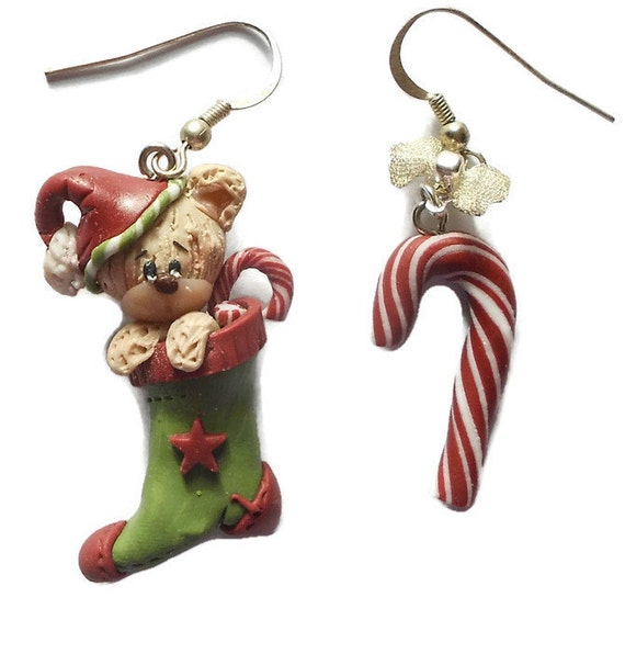 Christmas jewelry Peppermint Candy cane Christmas stocking Winter holiday 2016 hand made miniature polymer clay creative unique jewellery