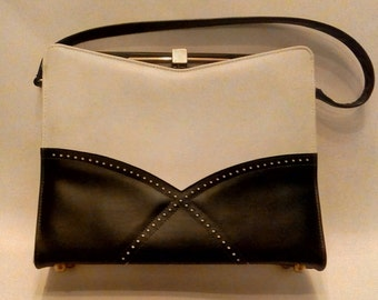 1960s Navy Blue and White Spectator Purse by Naturalizer