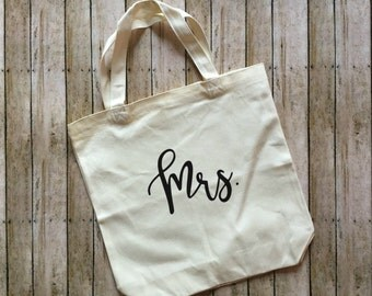 Mrs tote bag - newlywed - newly engaged tote bag - tote bag - bride to be - wedding planning tote - canvas totes