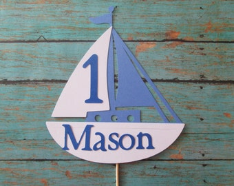 Sailboat Cake Topper- Smash Cake, Boat theme, Nautical theme, Birthday Cake toppers, nautical birthdays, photo props